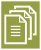 A white icon showing multiple pieces of papers stacked one each other with a green colored background.