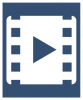 A white icon showing a movie tape reel with a play icon in the center. The icon is on a dark blue colored background.